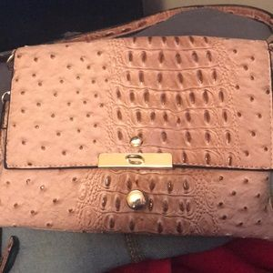 Faux leather croc embossed crossbody